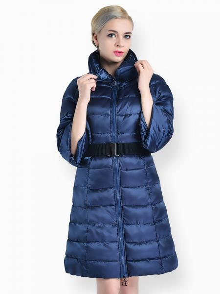 Blue Slim Fit Two-way Zipper Half Sleeves Long Puffer Parka Coat for Women