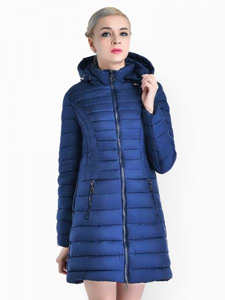 Blue Slim Fit Two-way Zipper Women Parkas Outerwear with Detachable Hood