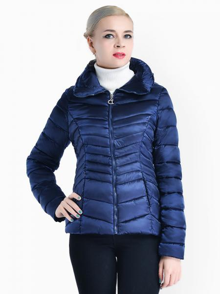 Blue Stand Collar Zipper Closure Padded Petit Slim Lightweight Parka Women