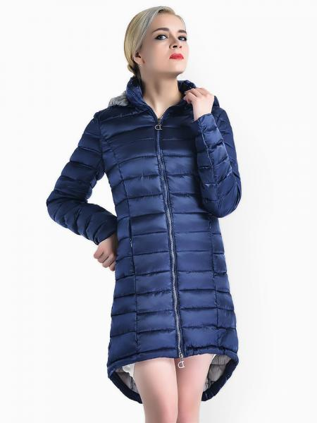 Blue Two-way Zipper Asymmetric Hemline Hooded Spring Parka Coat for Women