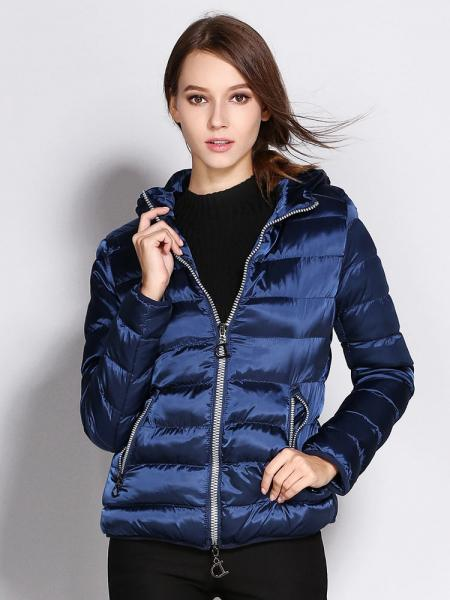 Blue Two Way Zipper Long Sleeves Hooded Womens Slim Quilted Puffer Parka