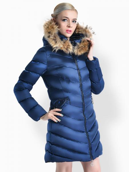 Blue Two Way Zipper Thick Long Parka Coat with Raccoon Fur Hood for Women