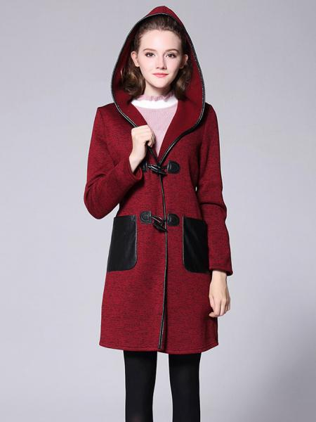 Burgundy Black Winter Long Sleeves Thick Knitted Long Duffle Coat with Hood for Women