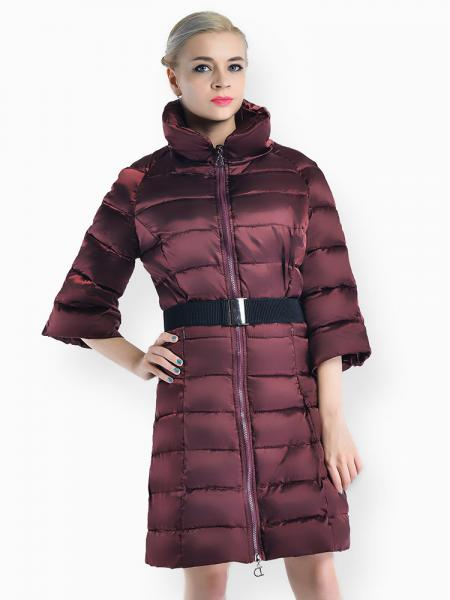 Burgundy Slim Fit Two-way Zipper Half Sleeves Long Puffer Parka Coat for Women