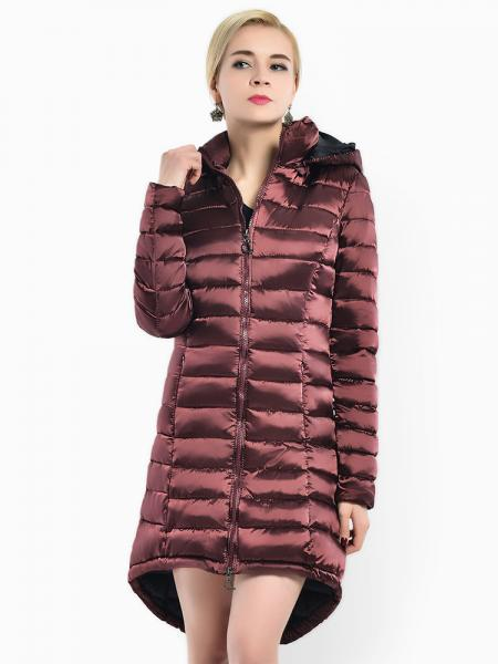 Burgundy Two-way Zipper Asymmetric Hemline Hooded Spring Parka Coat for Women