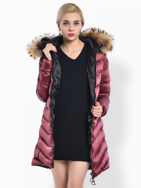 Burgundy Two Way Zipper Thick Long Parka Coat with Raccoon Fur Hood for Women