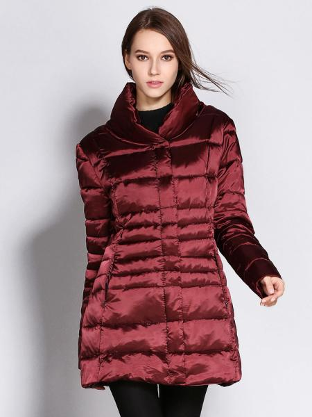 Burgundy Zipper & Press Studs Closure Stand Collar Padded Puffer Parka Jacket