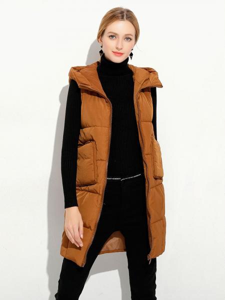 Caramel Loose Fit Hooded Zipper Thick Warm Puffer Long Waistcoat for Women