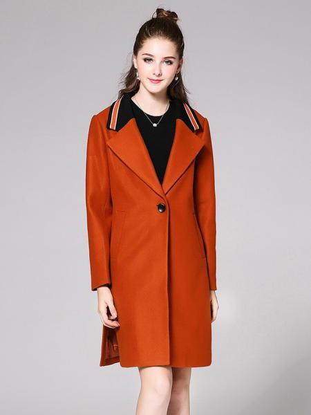 Caramel Single Button Long Sleeves Striped Rib-knit Long Women Woolen Jackets