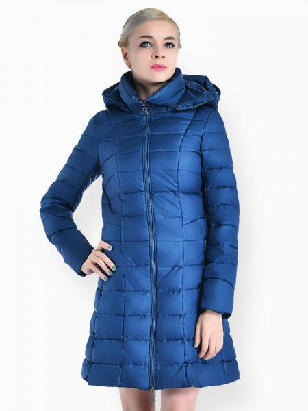 Cerulean A-line Two-way Zipper Detachable Hooded Padded Parka Jacket for Women