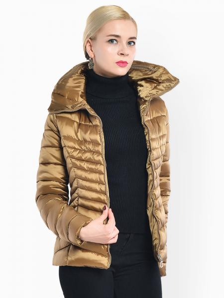 Gold Stand Collar Zipper Closure Padded Petit Slim Lightweight Parka Women