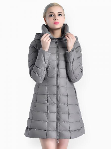 Gray A-line Two-way Zipper Detachable Hooded Padded Parka Jacket for Women