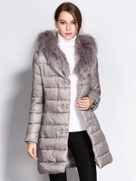 Gray Double Zipper & Press Studs Faux Fur Collar Padded Womens Parka Jacket