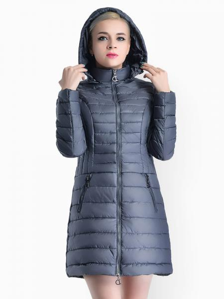 Gray Slim Fit Two-way Zipper Women Parkas Outerwear with Detachable Hood