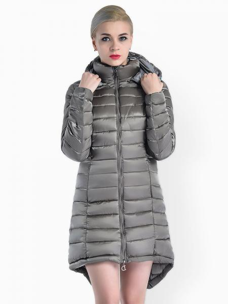 Gray Two-way Zipper Asymmetric Hemline Hooded Spring Parka Coat for Women