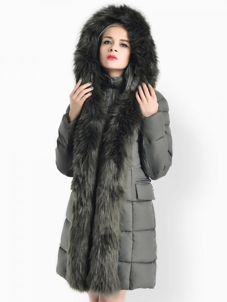 Zipper Deluxe Long & Thick Women's Down Parka with Fur Hood