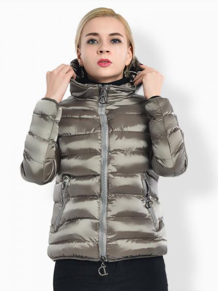 Gray Two Way Zipper Long Sleeves Hooded Womens Slim Quilted Puffer Parka