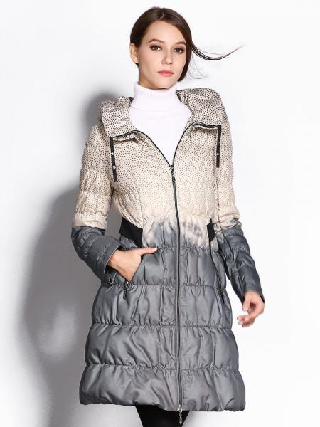 Gray White A-line Double Layered Collar Polka Dots Printed Ladies Long Down Coat
