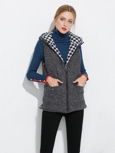Gray Zipper Loose Fit Quilted Thick Ladies Winter Vests Coat with Hood