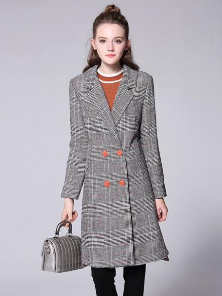 Gray Double-breasted Asymmetric Front & Back Plaid Long Wool Peacoat for Women