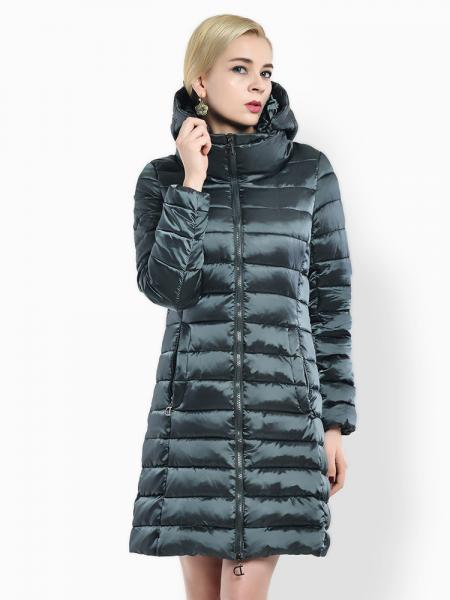 Jasper Cheap Two Way Zipper Long Parka Coat with Detachable Hood for Women