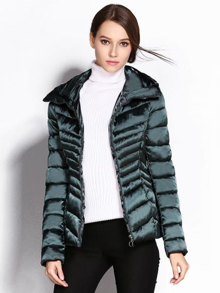 Jasper Stand Collar Zipper Closure Padded Petit Slim Lightweight Parka Women