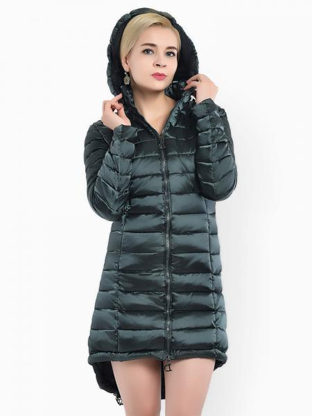 Jasper Two-way Zipper Asymmetric Hemline Hooded Spring Parka Coat for Women