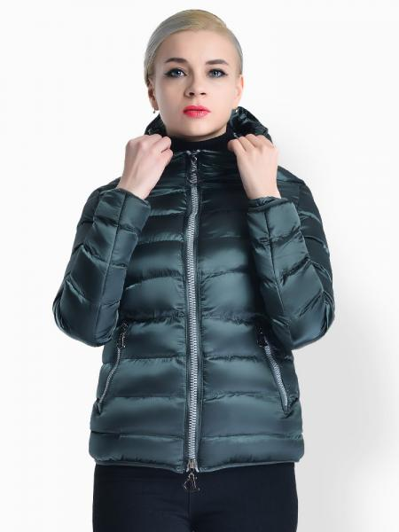 Jasper Two Way Zipper Long Sleeves Hooded Womens Slim Quilted Puffer Parka