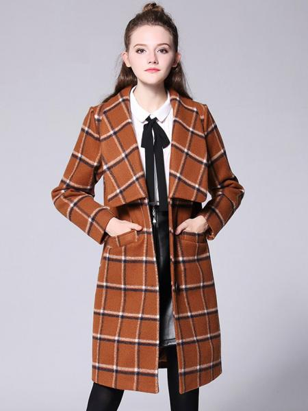 Khaki Big Lapels Single Breasted Long Sleeves Plaided Thick Women Wool Coat