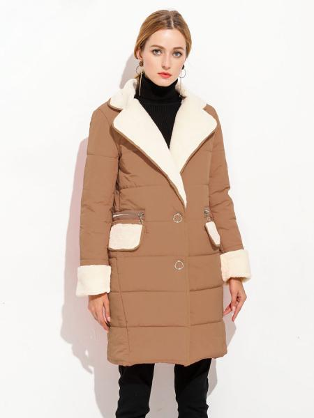 Khaki Press Studs Single Breasted Lamb Wool Splicing Thick Women Parka Coat