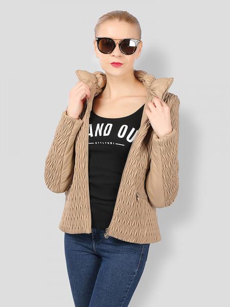 Khaki Stylish Zipper Long Sleeves Pleated Design Short Parka Jacket for Women
