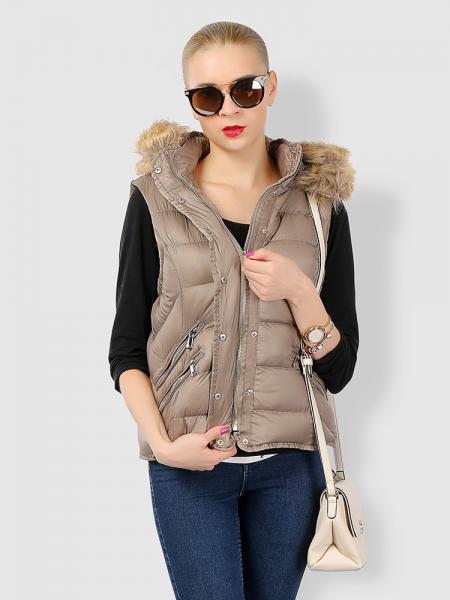Khaki Zipper & Press Studs Puffer Short Padded Hooded Vest Coat for Women
