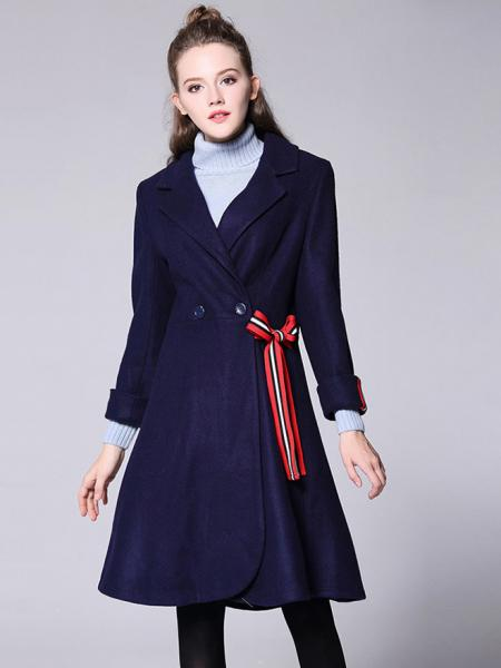 Navy Morden Double Breated Long Sleeves Lined Women Long Dressy Wool Coat