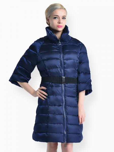 Navy Slim Fit Two-way Zipper Half Sleeves Long Puffer Parka Coat for Women