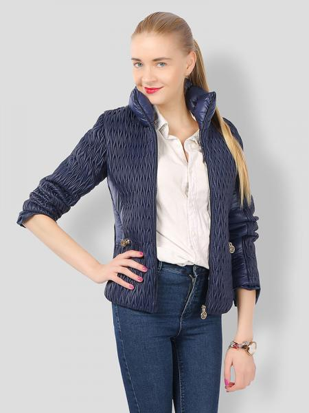 Navy Stylish Zipper Long Sleeves Pleated Design Short Parka Jacket for Women