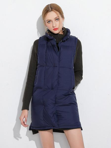 Navy Zipper & Press Studs Loose Fit Stand Collar Puffy Thick Women Vest Coat