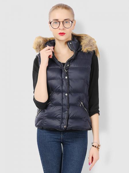 Navy Zipper & Press Studs Puffer Short Padded Hooded Vest Coat for Women