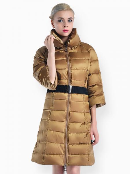 Ochre Slim Fit Two-way Zipper Half Sleeves Long Puffer Parka Coat for Women