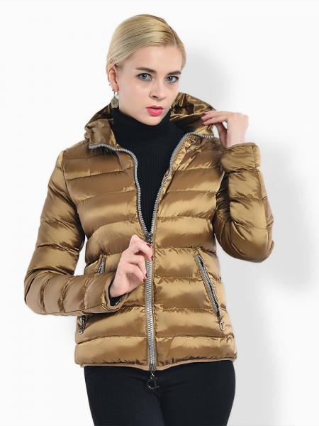 Ochre Two Way Zipper Long Sleeves Hooded Womens Slim Quilted Puffer Parka