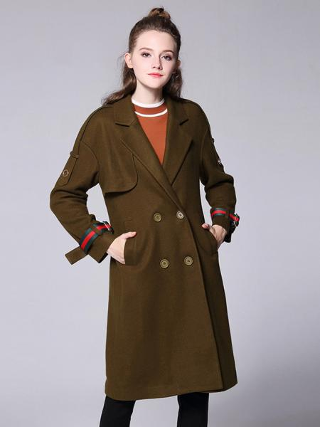 Olive Loose Fit Layered Double Breasted Long Sleeves Women Long Wool Peacoat