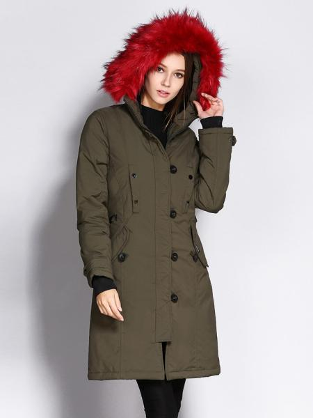 Olive Red Slim Fit Long Winter Thick Parka Coat with Faux Fur Hood for Women