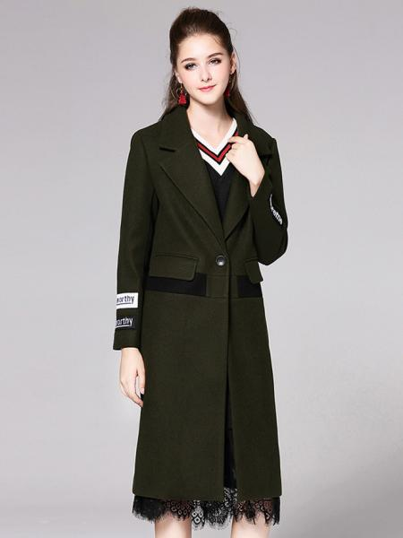 Olive Single Button Long Sleeves Letter Printed Lined Womens Long Wool Coat
