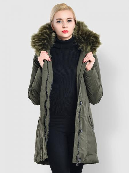 Zipper Faux Fur Hooded Thick Ladies Winter Parkas on Sale