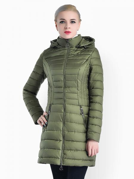 Olive Slim Fit Two-way Zipper Women Parkas Outerwear with Detachable Hood