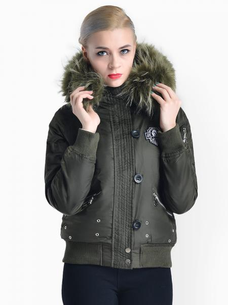 Olive Zipper & Button Womens Thick Winter Windproof Parka with Faux Fur Hood