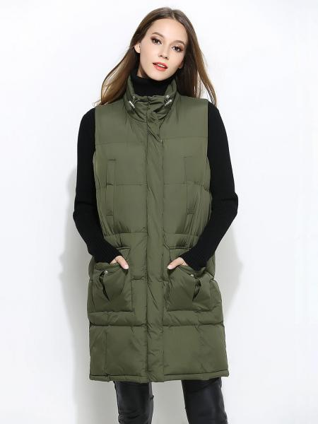 Olive Zipper & Press Studs Closure Loose-fit Thick Women Puffer Waistcoat
