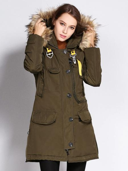 Olive Zipper & Single Breasted Slim-fit Fox Fur Hooded Thick Parka Women Coat