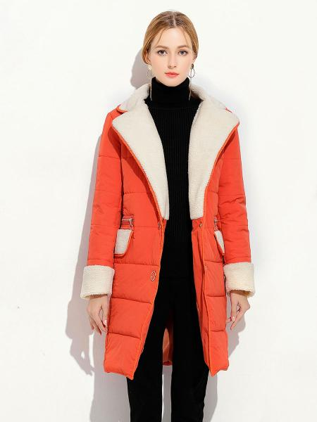 Orange Press Studs Single Breasted Lamb Wool Splicing Thick Women Parka Coat