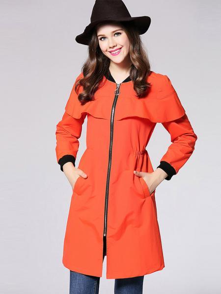 Orange Zipper Long Sleeves Ruffles Layered Slim Long Trench Coat for Women