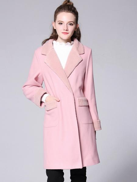 Pink Lamb Wool Splicing Long Sleeves Thick Women Double Breasted Pea Coat